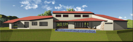 Rear View of Pool and Patio- The Santa Fe